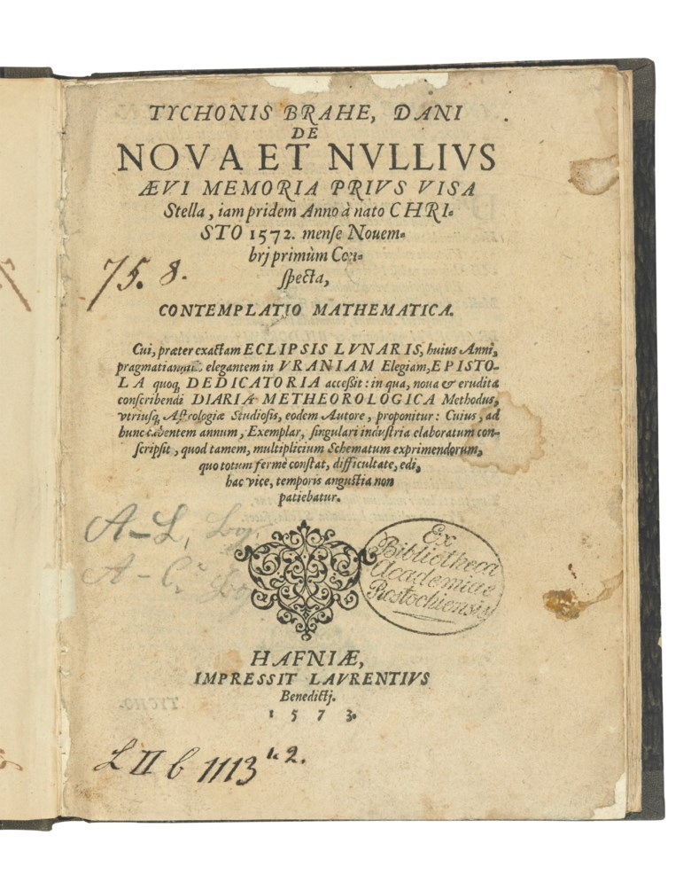 Brahe, Tycho (1546-1601). First edition of De nova… stella, the incontrovertible refutation of the Aristotelian model of an unchanging celestial realm. Quarto. Sold for £175,000 on 9 July 2019 at Christie's in London