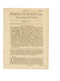 NEWTON, Sir Isaac (1642-1727). 'A Letter of Mr. Isaac Newton... Containing his New Theory about Light and Colors.' Extracted from: Philosophical Transactions, Volume 6, number 80, pp.3075-3087. [London: John Martyn, 19 February 1672].