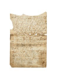 [SHAKESPEARE, William]. Manuscript part for a contemporary analogue to Henry IV, part I, n.p. [perhaps Oxford or London], n.d. [c.1580s-before c.1620].