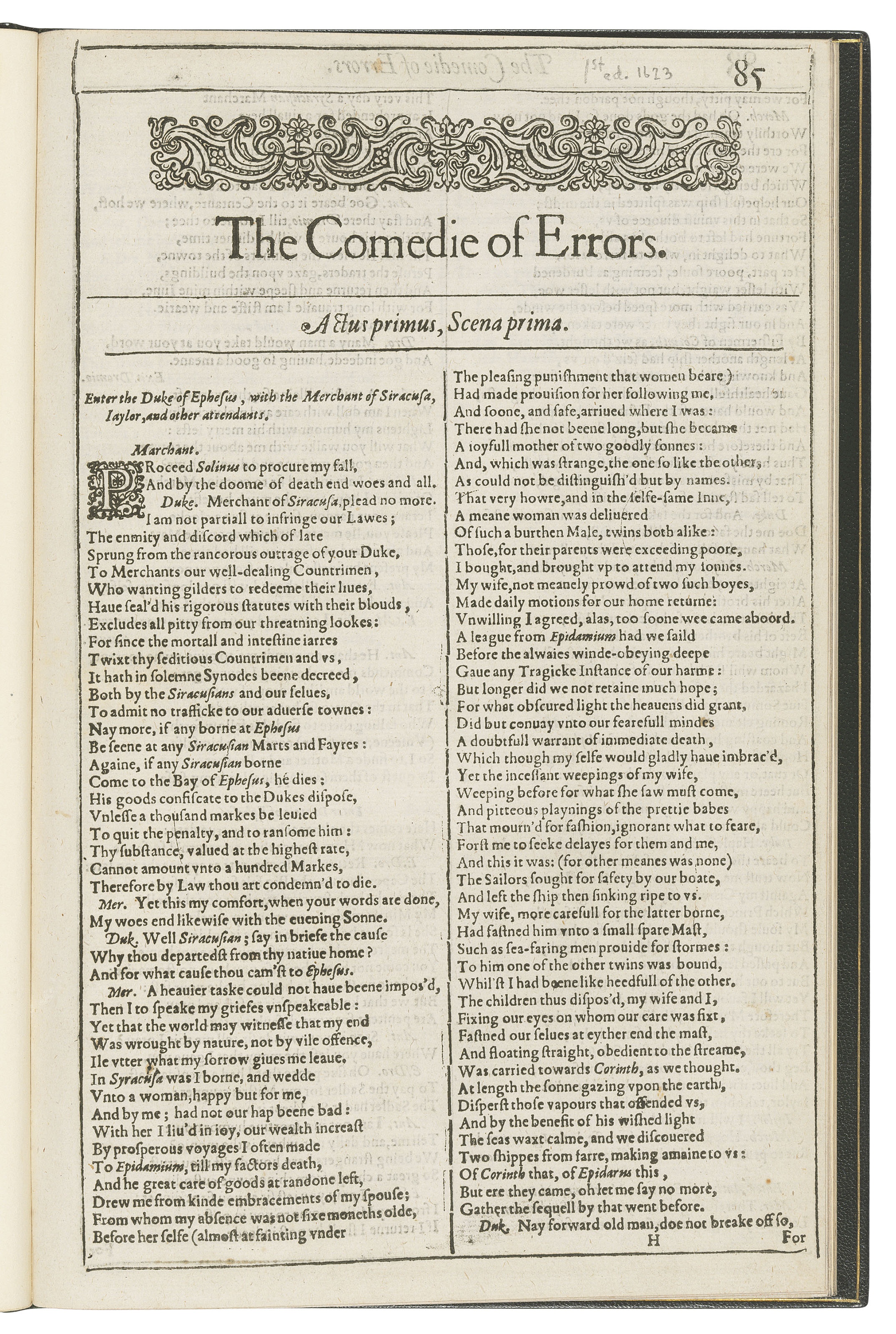 SHAKESPEARE, William (1564-1616). The Comedie of Errors [extracted from: Mr. William Shakespeares Comedies, Histories, & Tragedies. London: Isaac Jaggard and Edward Blount, 1623].