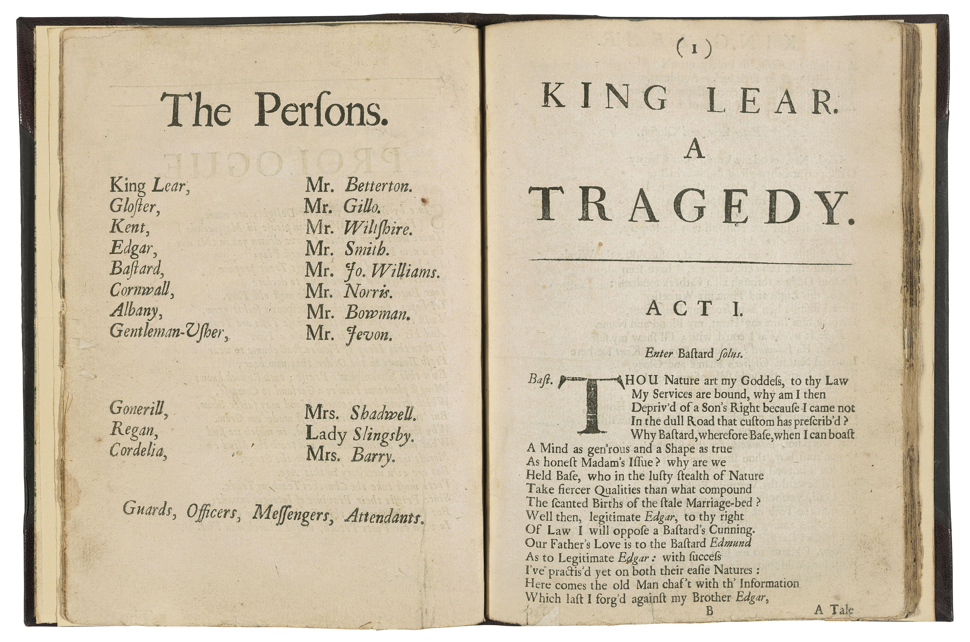 [SHAKESPEARE, William (1564-1616)] – TATE, Nahum (1652-1715). The History of King Lear. Acted at the Duke's Theatre. Reviv'd with alterations. By N. Tate. London: for E. Flesher, to be sold by R. Bentley and M. Magnes, 1681.