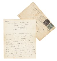 WILDE, Oscar (1854-1900). Autograph letter signed ('O' and 'Sebastian Melmoth') to Louis Wilkinson ('Dear Mr Wilkinson'), Hôtel des Bains, La Napoule, n.p. [postmarked 3 February 1899].