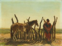 A gaucho with his steed on the Pampas
