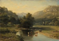 A wooded river landscape with cattle watering, a village beyond