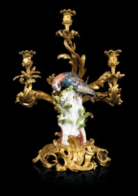 A PAIR OF LOUIS XV ORMOLU-MOUNTED MEISSEN PORCELAIN THREE-LIGHT CANDELABRA