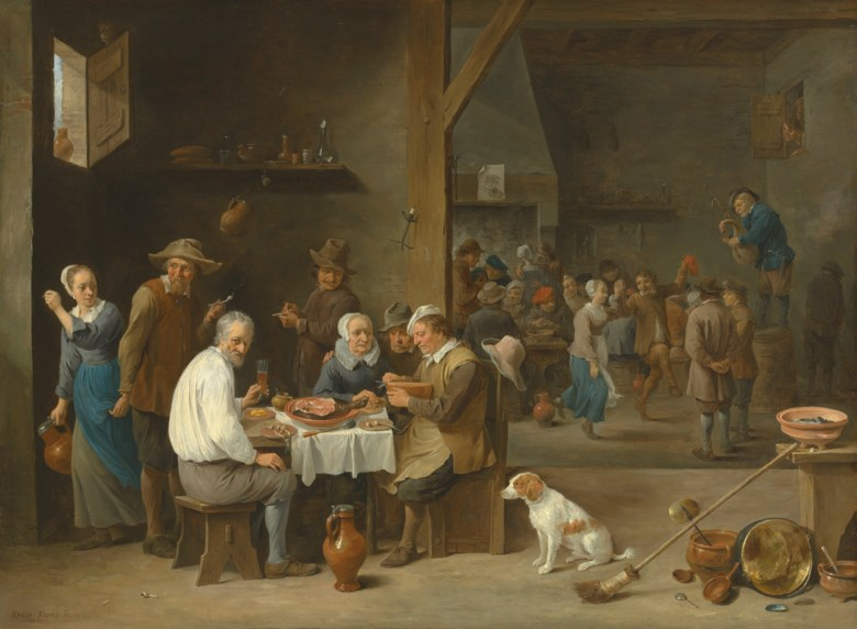 David Teniers, the Younger  (Antwerp 1610-1690 Brussels), Le déjeuner au jambon. 25 x 33⅝  in (63.5 x 85.3 cm). Sold for £4,746,250 on 4 July 2019 at Christie's in London