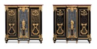 A PAIR OF LOUIS XVI ORMOLU-MOUNTED EBONY, PEWTER, BRASS AND TORTOISESHELL BOULLE MARQUETRY CABINETS