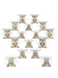 A SUITE OF SIXTEEN FRENCH SILVER DESSERT STANDS