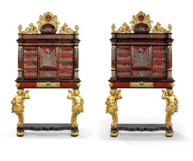 A PAIR OF ROYAL TORTOISESHELL, BRASS, PEWTER, INLAID 'BOULLE