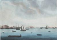 View of the Neva wharfs in Saint Petersburg