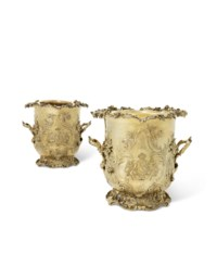 A PAIR OF WILLIAM IV SILVER-GILT WINE COOLERS AND LINERS