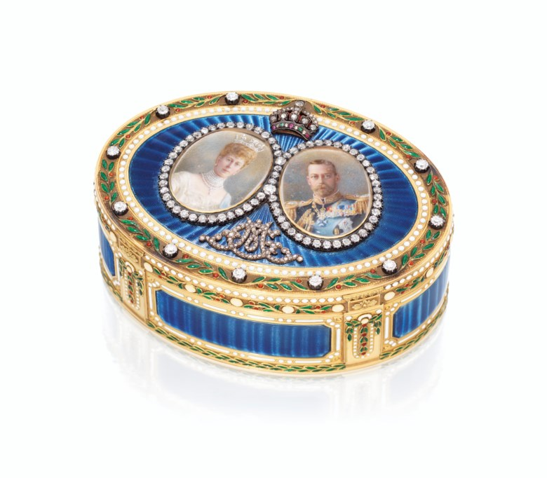 A George V jewelled enamelled gold royal presentation snuff-box, Mark of Sebastian Garrard, London, 1911. 3⅜  in (85  mm) wide. Estimate £30,000-50,000. Offered in Property from Descendants of Their Majesties King George V and Queen Mary on 13 December 2019 at Christie's in London