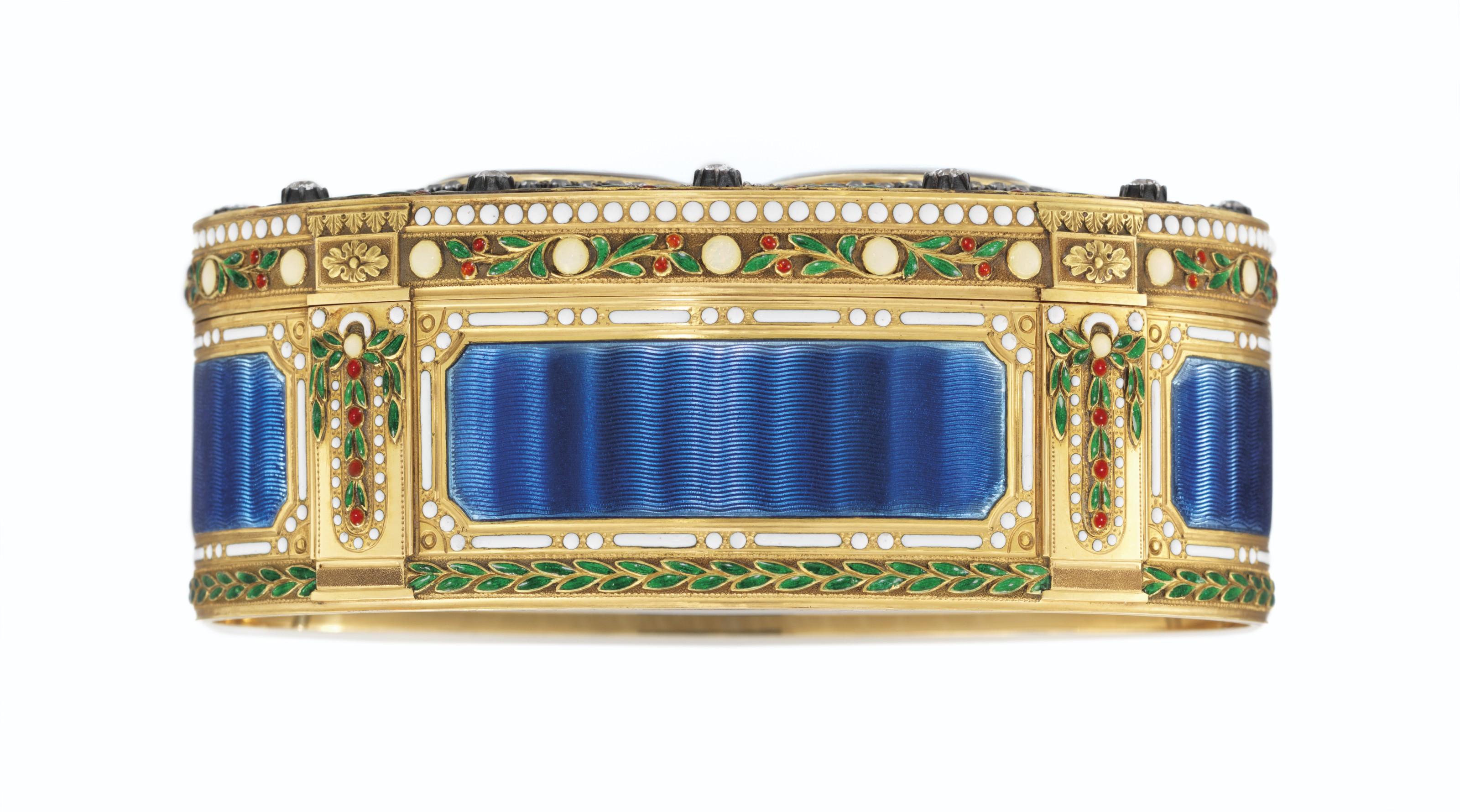 A GEORGE V JEWELLED ENAMELLED GOLD ROYAL PRESENTATION SNUFF-BOX