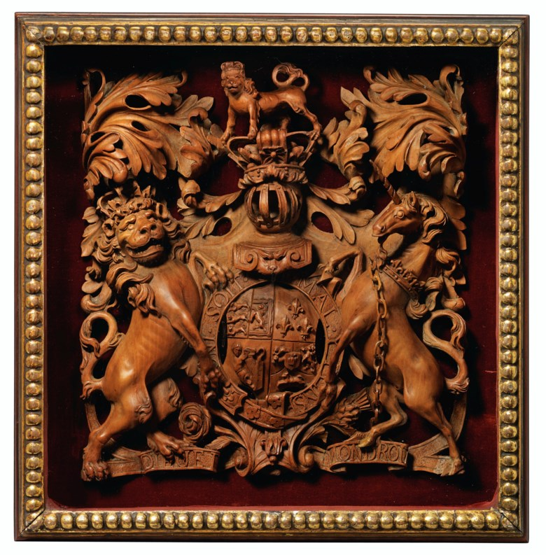 A George III pearwood carving of the royal Hanovarian coat-of-arms, late 18th century, attributed to Thomas and George Seddon. 12 in (30.5 cm) high; 11¾  in (29.8 cm) wide; 3 in (7.5 cm) deep. Estimate £3,000-5,000. Offered in Property from Descendants of Their Majesties King George V and Queen Mary on 13 December 2019 at Christie's in London