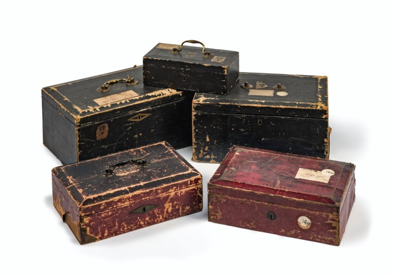 A group of five dispatch boxes, earlymid-19th century. The largest 8¾ in (22.2 cm) high; 17½ in (44.5 cm) wide; 11¾  in (30 cm) deep. Estimate £2,000-3,000. Offered in Property from Descendants of Their Majesties King George V and Queen Mary on 13 December 2019 at Christie's in London