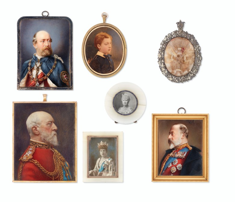 A group of seven portrait miniatures of royal sitters. Oval and rectangular, 35 to 120 mm high, framed. Estimate £1,000-1,500. Offered in Property from Descendants of Their Majesties King George V and Queen Mary on 13 December 2019 at Christie's in London