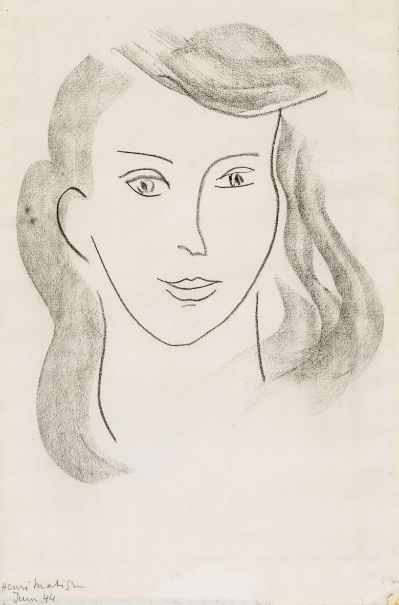 Henri Matisse (1869-1954), Tête de jeune fille, June 1944. Charcoal on paper. 15⅞ x 10 ¼  in (40.3 x 26.3  cm). Estimate £50,000-80,000. Offered in The Collection of Drue Heinz Townhouses in London and New York with interiors by John Fowler and Renzo Mongiardino on 4 June 2019 at Christie's in London