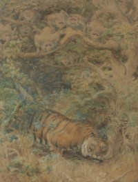 Study for 'A row in the jungle': A tiger on the prowl