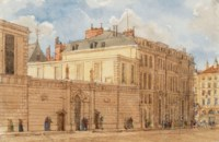 View of the Banque de France, for A.N.W. Pugin's 'Paris and its environs: displayed in a series of picturesque views'