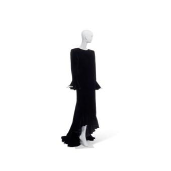 970f6d15d3d3 YVES SAINT LAURENT HAUTE COUTURE CIRCA 1998. A BLACK VELVET LONG EVENING  DRESS