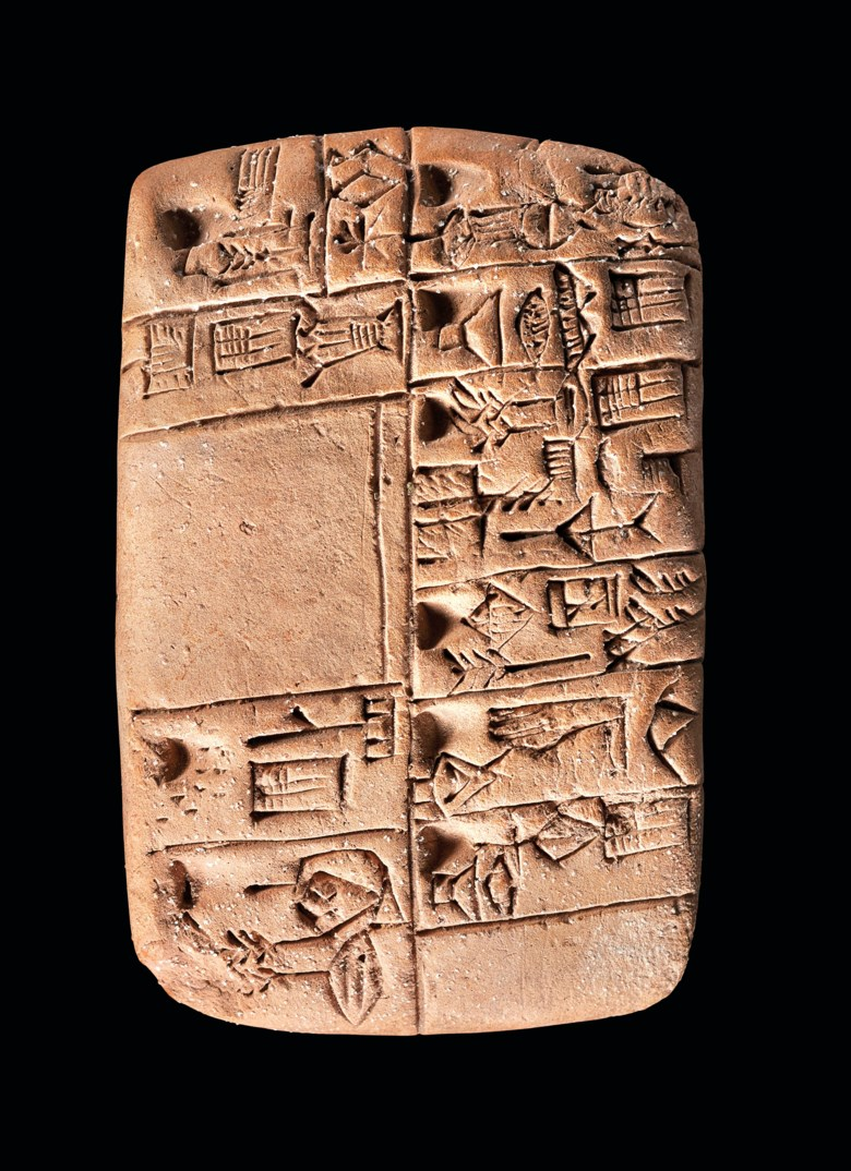 A Mesopotamian proto-cuneiform clay tablet with account of monthly rations, Late Uruk period, circa 3100-3000 BC. Estimate £20,000-30,000. Offered in The History of Western Script Important Antiquities and Manuscripts from the Schøyen Collection on 10 July 2019 at Christie's in London