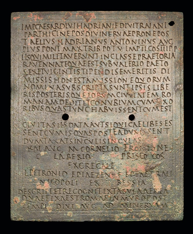 A Roman bronze fleet diploma for l. Petronio, Reign of Antoninus Pius, 143 a.d., M. Roxan and P. Holder, roman military diplomas iv, London, 2003, no 264, pp.505-506. 158 x 127 mm. Estimate £20,000-30,000. Offered in The History of Western Script Important Antiquities and Manuscripts from the Schøyen Collection on 10 July 2019 at Christie's in London