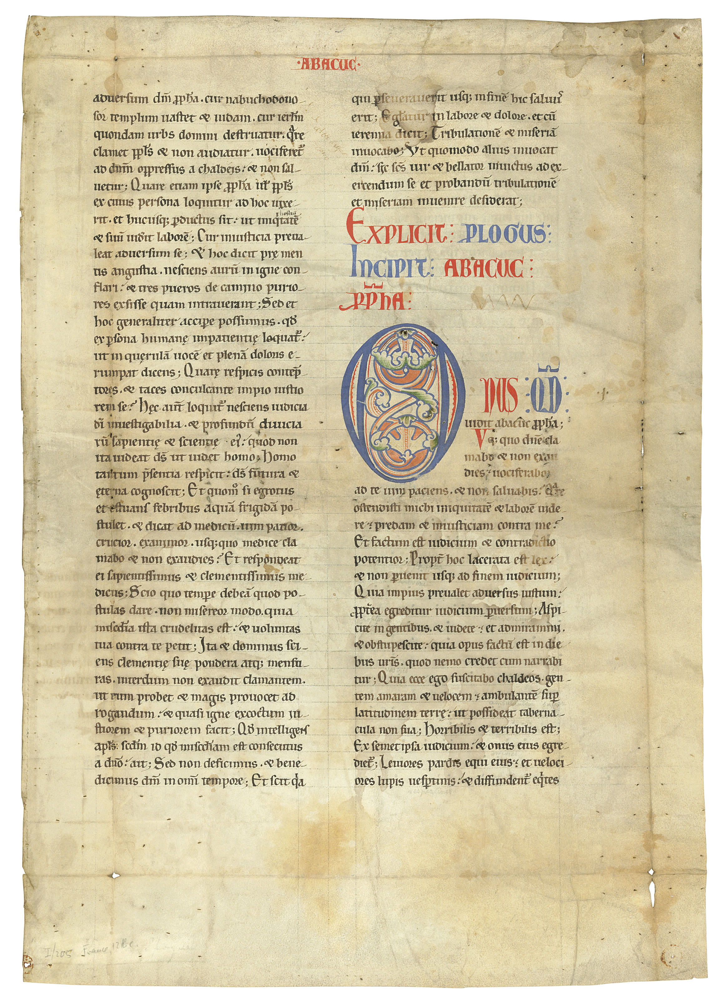 BIBLE, a leaf from a Giant Romanesque Bible, in Latin, decorated