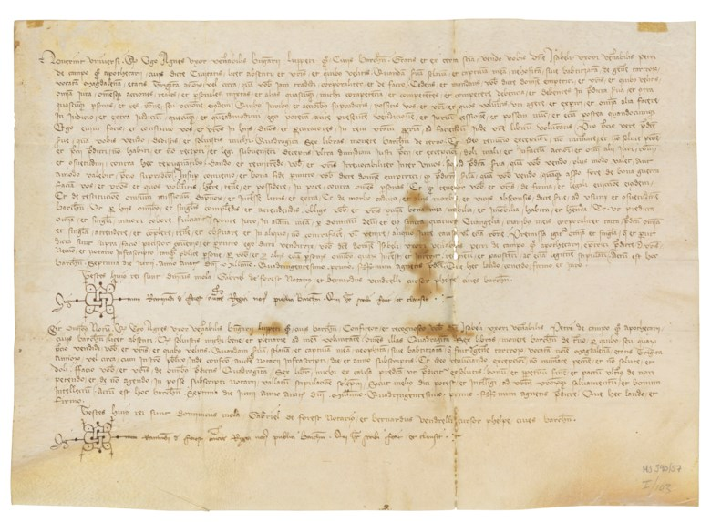 Contract for the sale of a Tartar slave, aged about 30, named Magdalena, in Latin, manuscript on vellum, dated at Barcelona, 7 June 1401.  Estimate £6,000-9,000. Offered in The History of Western Script Important Antiquities and Manuscripts from the Schøyen Collection on 10 July 2019 at Christie's in London