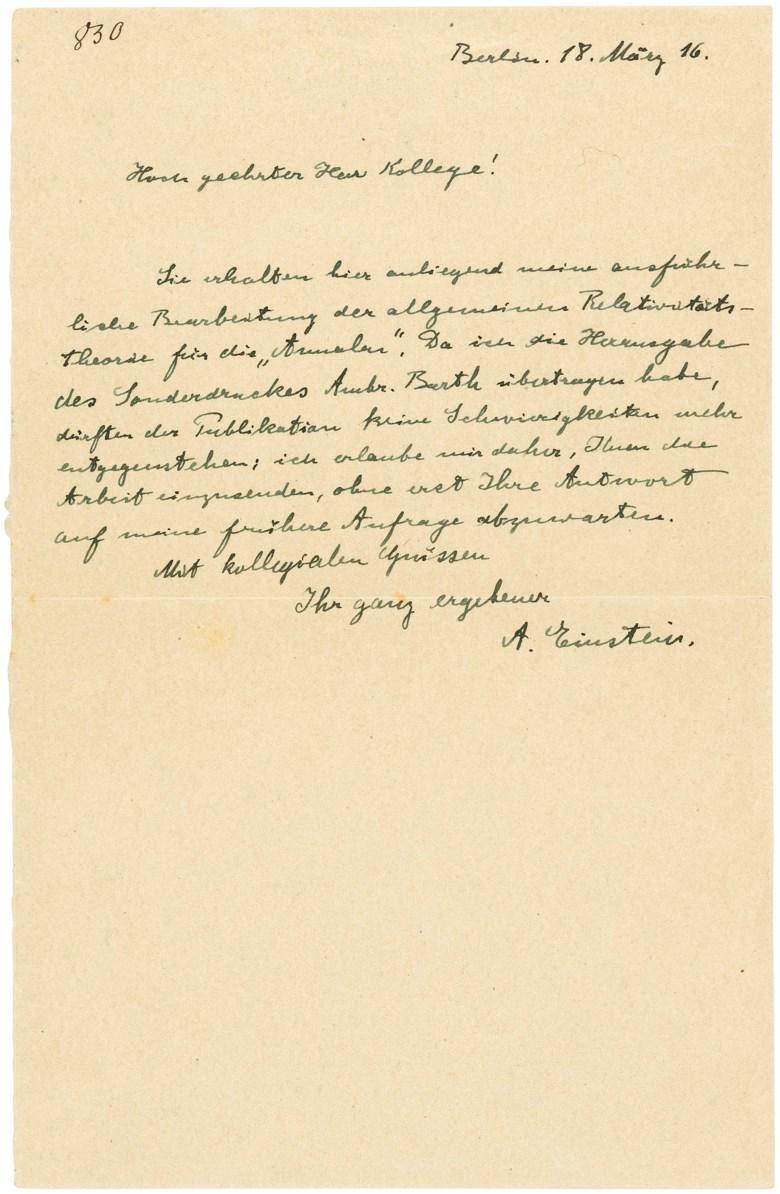 广义相对论最终定论,阿尔伯特‧爱因斯坦,1916年3月18日。此作于2019年5月16至23日在「巨人的肩膀上」网上拍卖中售出,成交价32,500英镑