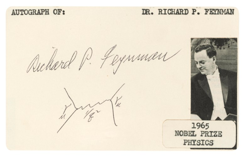 Feynman and his diagram, Richard Feynman.The first signed 'Feynman diagram' to appear at international auction,illustrating the exchange of a virtual photon between two electrons, is reprised almost exactly here. Estimate £10,000-15,000. Offered in  On the Shoulders of Giants Making the Modern World, 16-23 May 2019, Online