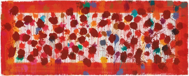 Howard Hodgkin (1932-2017), As Time Goes By (Red), 2009. Overall 2440 x 6100 mm. Estimate £35,000-50,000. This lot is offered in  Feelings in Colour The Graphic Art of Howard Hodgkin, 4-12 April 2019, Online. Artworks © Howard Hodgkin