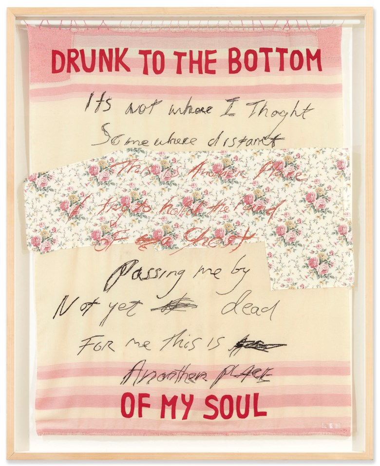 Tracey Emin (b. 1963), Drunk to the Bottom of My Soul, executed in 2002. Sold for £275,000  on 14 March 2019 at Christie's in London
