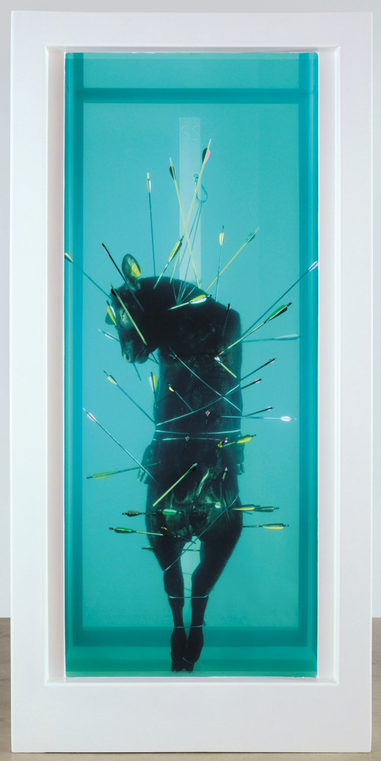 Damien Hirst (b. 1965), Saint Sebastian, Exquisite Pain, executed in 2007. Glass, painted stainless steel, silicone, arrows, crossbow bolts, stainless steel cable and clamps, stainless steel carabiner, bullock and formaldehyde solution. 126⅝ x 61⅜ x 61⅜ in (321.6 x 155.8 x 155.8 cm). This work is accompanied by the artist's study drawing Saint Sebastian, Exquisite Pain, executed in 2006.
