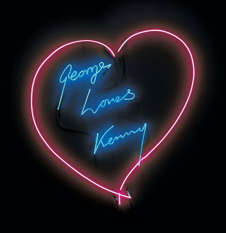 Tracey Emin (b. 1963), George Loves Kenny, executed in 2007. Soft pink and pale blue neon. This work is unique. 42½ x 42 in (107.9 x 106.7 cm). Estimate £40,000-60,000. Offered in The George Michael Collection Evening Auction on 14 March 2019 at Christie's in London