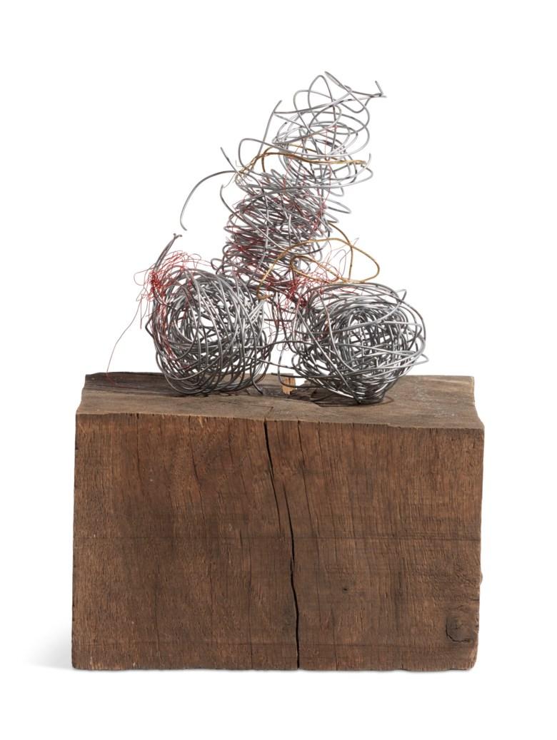 Sarah Lucas (b. 1962), O Nob, executed in 2007. Wood and wire. Base 4⅝ x 8⅛ x 7⅝ in (11.7 x 20.6 x 19.4 cm). Estimate £18,000-25,000. Offered in The George Michael Collection Evening Auction on 14 March 2019 at Christie's in London