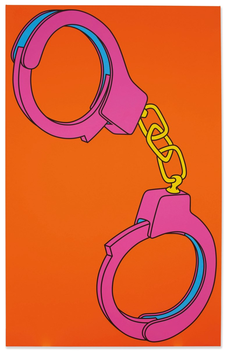 Michael Craig-Martin (b. 1941), Handcuffs, painted in 2002. Acrylic on canvas. 114 x 72 in (289.5 x 182.8 cm). Estimate £30,000-50,000. Offered in The George Michael Collection Evening Auction on 14 March 2019 at Christie's in London