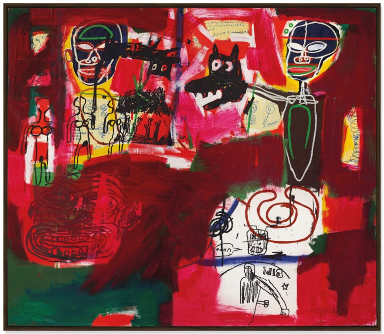 Jean-Michel Basquiat (1960-1988), Sabado por la Noche (Saturday Night), executed in 1984. 77 x 88 in (195.6 x 223.5 cm). Sold for £8,378,250 on 25 June 2019 at Christie's in London
