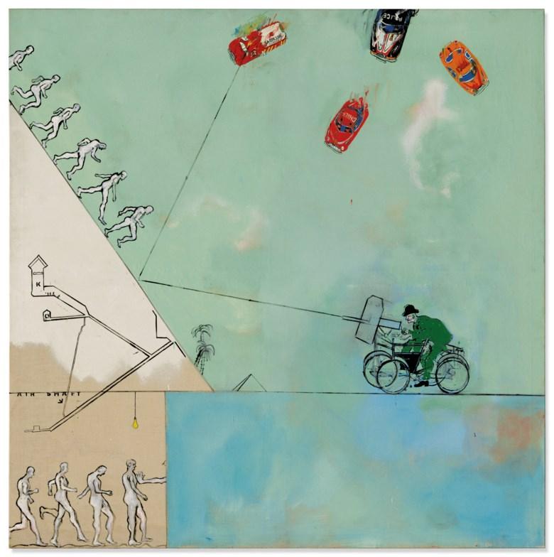 Derek Boshier (b. 1937), Man Versus Look, Versus Life, Versus Time, Versus Man About, painted in 1962. 72⅜ x 72 ½ in (183 x 183 cm). Sold for £237,500 on 25 June 2019 at Christie's in London