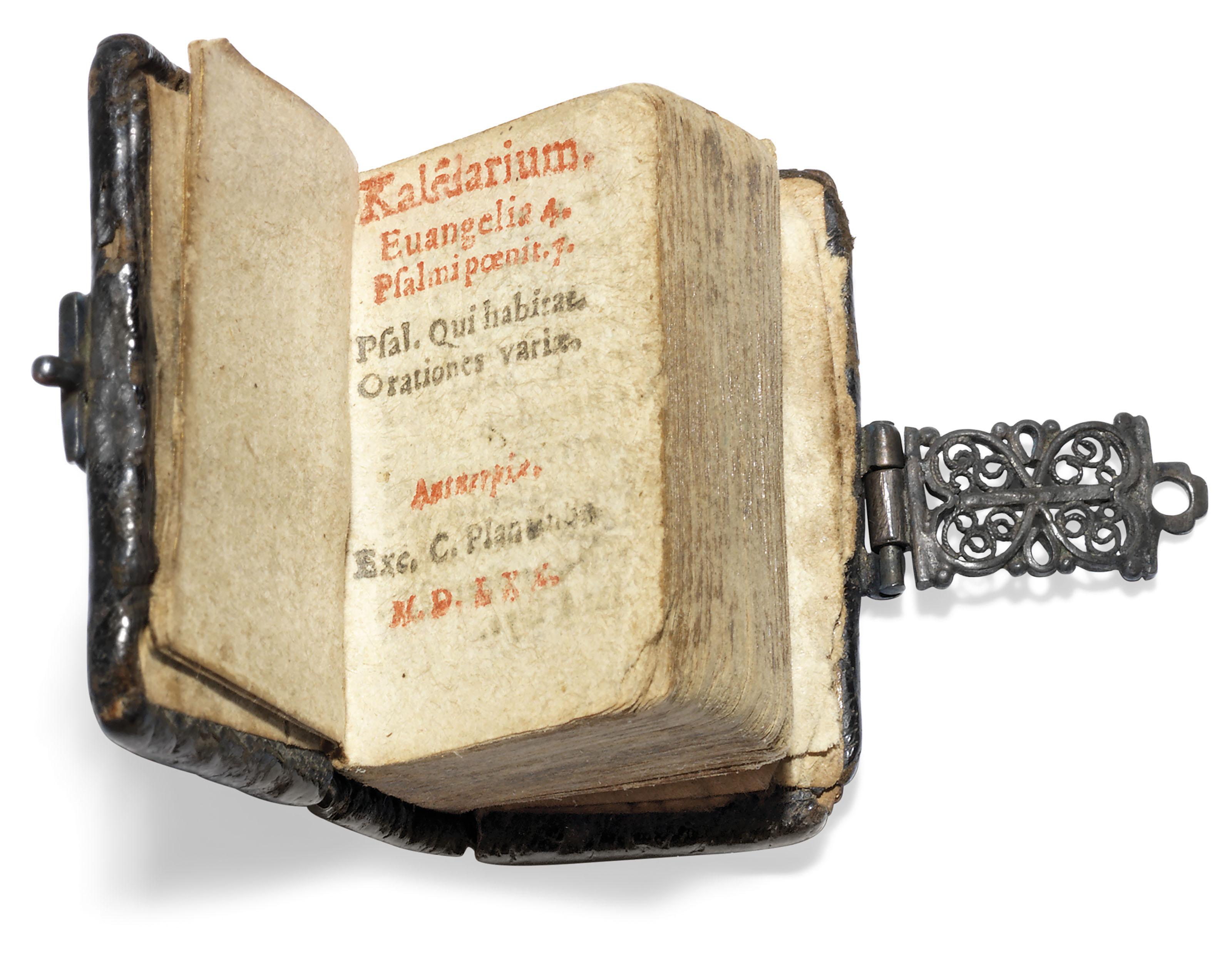 MINIATURE BOOK – Kalendarium. Evangelia 4. Psalmi poenit. 7. Antwerp: Christopher Plantin, 1570.