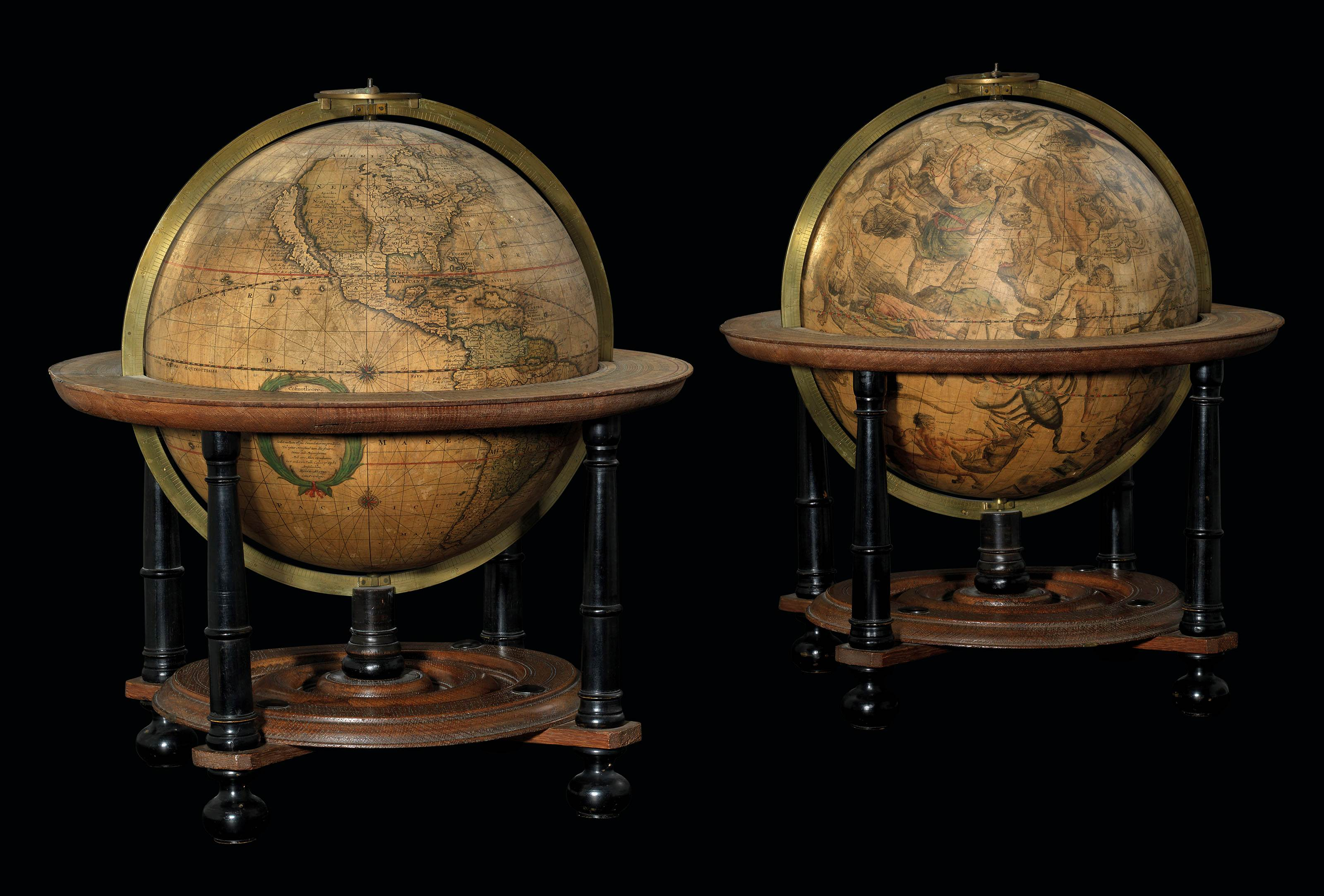 A PAIR OF DUTCH TABLE GLOBES