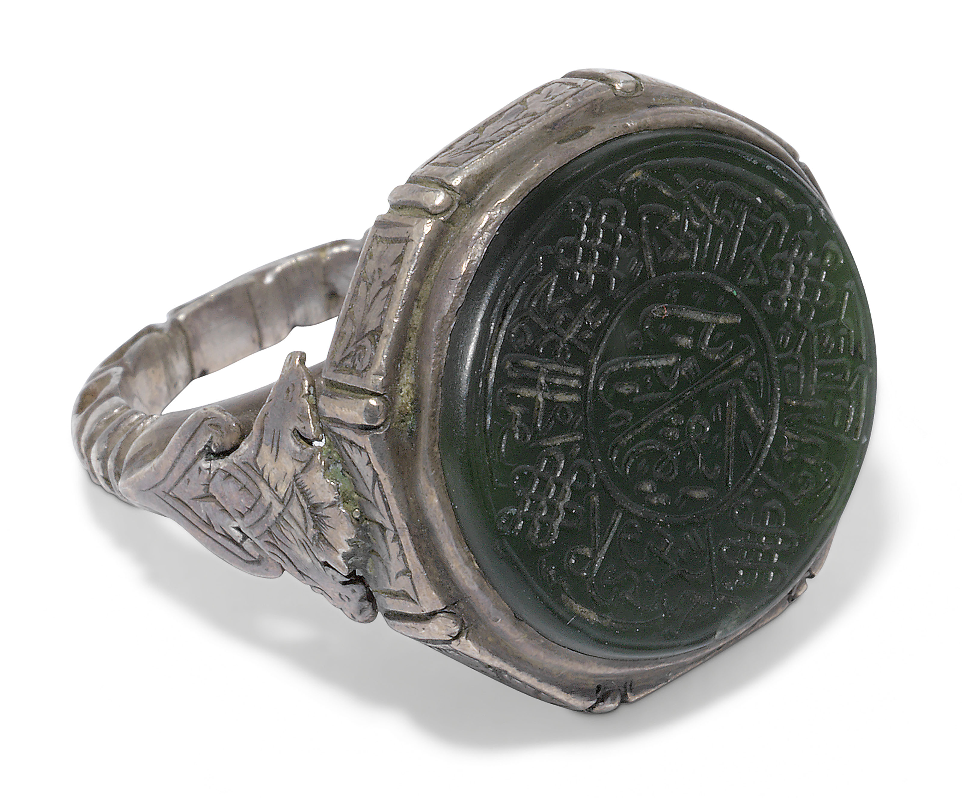 A SILVER AND NEPHRITE JADE SEAL RING