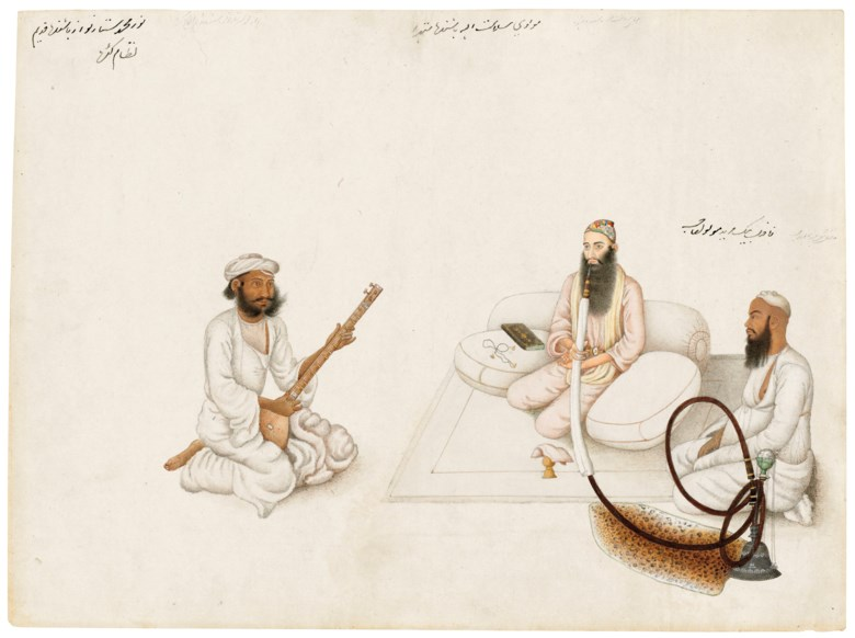 An Illustration from a Fraser Album Mawlawi Salamat Allah of Mathura with a Disciple and a Musician, Delhi or Haryana, North India circa 1815-1819. 12⅛ x 16½ in (31 x 42 cm). Estimate £40,000-60,000. Offered in The Oliver Hoare Collectionon 25 October 2019 at Christie's in London