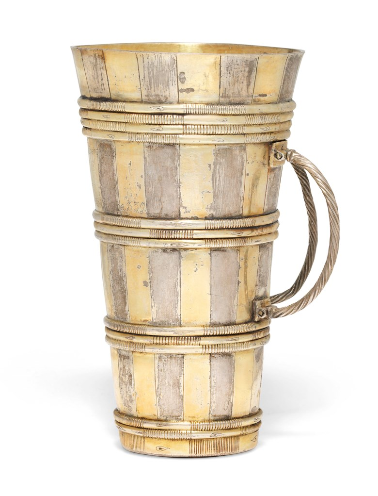 A Louis XIII parcel-gilt silver cup from a Büttenmann figure. Mark of David Zwirlin, Strasbourg, circa 1610.5⅞  in (15 cm). Estimate £15,000-25,000. Offered in The Oliver Hoare Collectionon 25 October 2019 at Christie's in London
