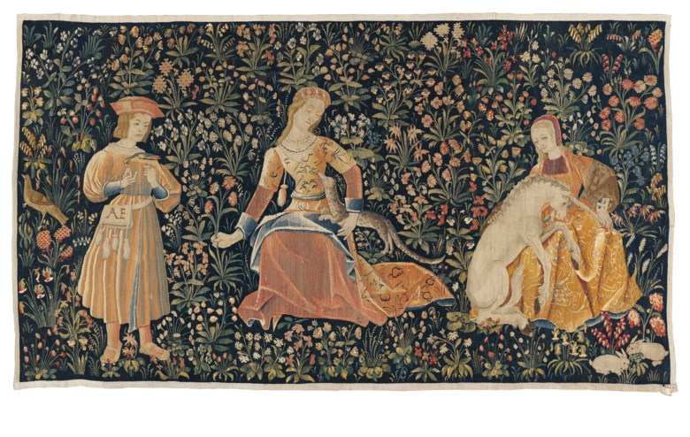 The Lady and the Unicorn, Flanders, circa 1500. 142 cm x 248 cm. Estimate £120,000-180,000. Offered in The Oliver Hoare Collectionon 25 October 2019 at Christie's in London
