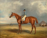 The Earl of Jersey's 'Riddlesworth' with J. Robinson up at Newmarket