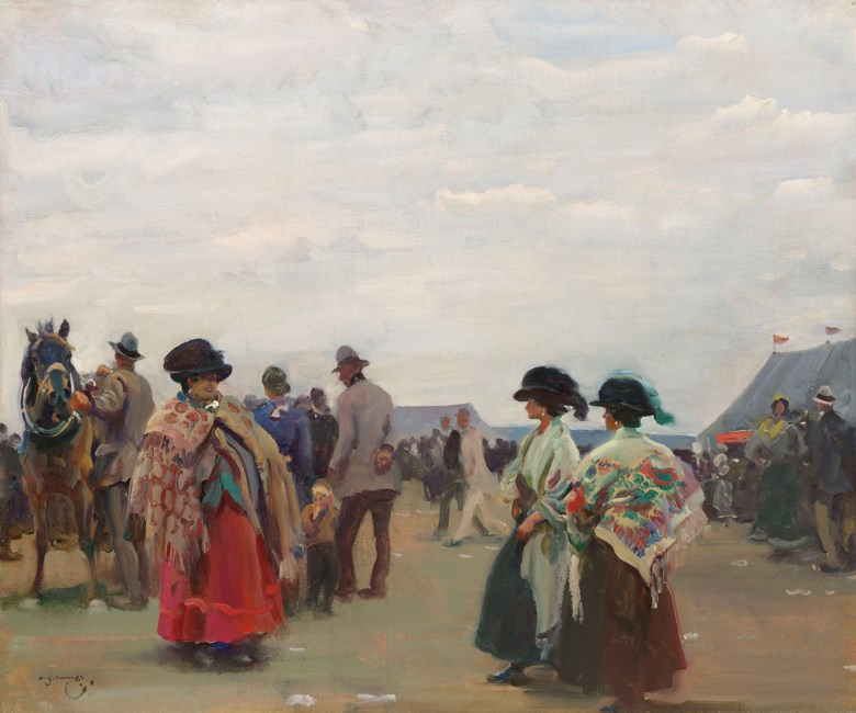 Sir Alfred James Munnings, P.R.A., R.W.S. (1878-1959), Fortune tellers at Epsom. Oil on canvas. 20 x 24  in (50.8 x 61  cm). Estimate £120,000-180,000. Offered in IN THE FIELD - An Important Private Collection of Sporting Art on 12 December 2019 at Christie's in London
