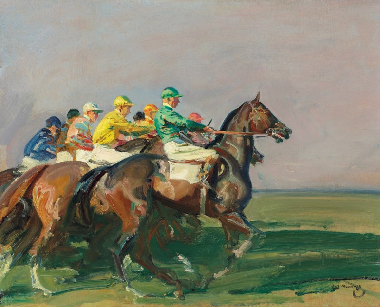 Sir Alfred James Munnings, P.R.A., R.W.S. (1878-1959), A Start at Newmarket, painted circa 1937. Oil on panel. 17⅝ x 21½  in (45 x 54.6  cm). Estimate £400,000-600,000. Offered in IN THE FIELD — An Important Private Collection of Sporting Art on 12 December 2019 at Christie's in London