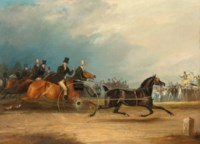 Squire Osbaldeston's celebrated trotter 'Tom Thumb' racing against time
