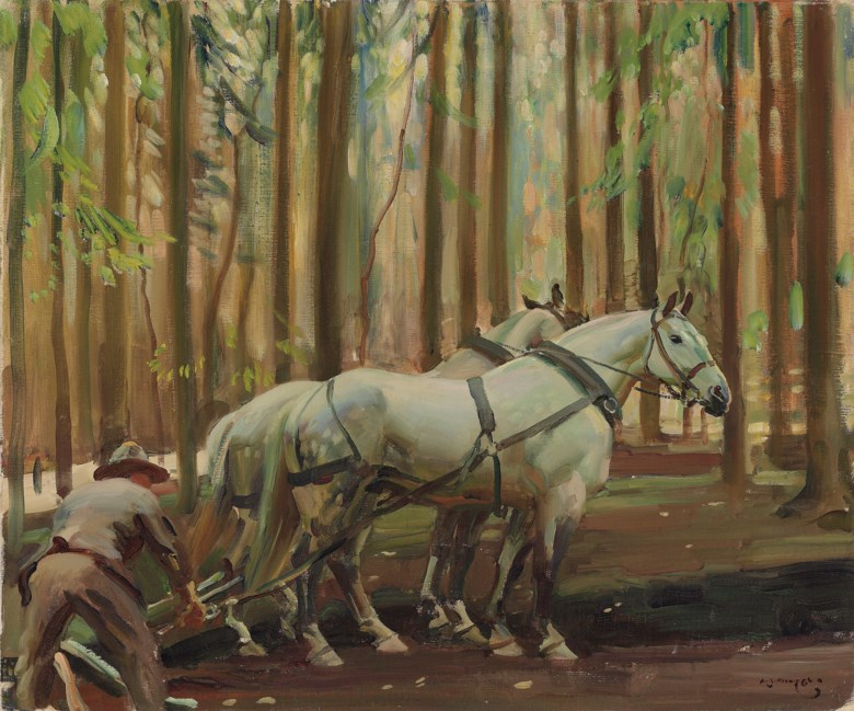 Sir Alfred James Munnings, P.R.A., R.W.S. (1878-1959), Forest Scene Man and Horses drawing timber. Oil on canvas. 20 x 24  in (50.8 x 60  cm). Estimate £70,000-100,000. Offered in IN THE FIELD - An Important Private Collection of Sporting Art on 12 December 2019 at Christie's in London
