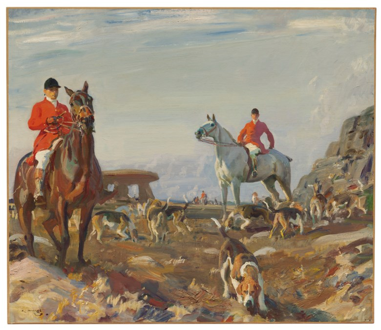 Sir Alfred James Munnings, P.R.A., R.W.S. (1878-1959), Huntsmen with hounds, Zennor Hill, Cornwall, 1913. Oil on canvas. 30½ x 35 ½  in (77.4 x 92  cm). Estimate £600,000-800,000. Offered in IN THE FIELD — An Important Private Collection of Sporting Art on 12 December 2019 at Christie's in London